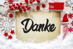 Christmas Decoration, Calligraphy Danke Means Thank You, Snow
