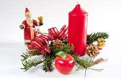 Christmas decoration with a candle Royalty Free Stock Photo