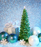 Christmas decoration and candle Royalty Free Stock Photos