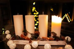 Christmas decoration candle for advent season four candles burning royalty free stock images