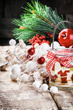 Christmas decoration with candle Royalty Free Stock Image