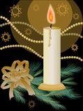 Christmas decoration with candle and gold ribbon Stock Photography
