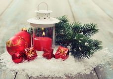 Christmas decoration with candle Stock Photography