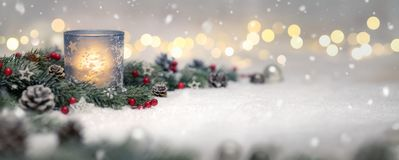 Christmas decoration with candle and lights royalty free stock photos