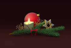Christmas decoration with candle. Christmas red ball, candle and gingerbread star with spruce branch and ribbon. 3D illustration Stock Photo