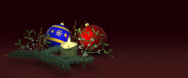Christmas decoration with candle. Christmas red and blue ball, candle with spruce branch and mistletoe. 3D illustration Stock Image