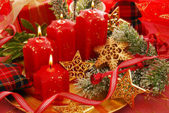 Christmas decoration with candles Royalty Free Stock Image