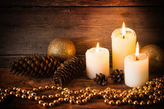 Christmas decoration and candles Stock Photos