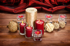 Christmas decoration - candles and balls Stock Photo