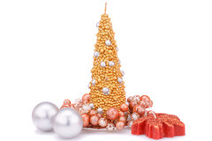 Christmas decoration. Christmas candles and balls isolated on white background Royalty Free Stock Image