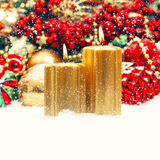 Christmas decoration with candles, baubles, ornaments. retro sty Stock Photography