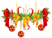 Christmas decoration with candles and bows Stock Photo