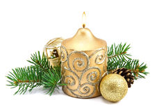Christmas decoration with candles and fir tree Stock Photography