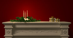 Christmas decoration with candles on the fireplace 3d rendering. Christmas decoration with candles and gifts on the fireplace over red wall 3d rendering Royalty Free Stock Photography