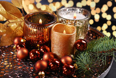 Christmas decoration with candles Royalty Free Stock Photo