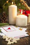 Christmas Decoration with Candles and Greeting card Royalty Free Stock Photography
