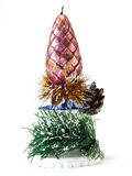 Christmas decoration with candles, pine cones Stock Images