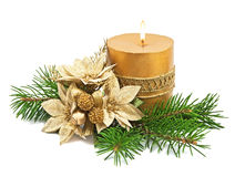 Christmas decoration with candles and poinsettia Royalty Free Stock Photography