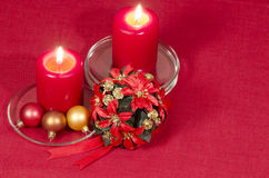Christmas decoration with candles ribbons and cookies Stock Image