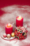 Christmas decoration with candles ribbons and cookies Royalty Free Stock Photography