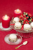 Christmas decoration with candles ribbons and cookies Royalty Free Stock Photo