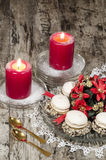 Christmas decoration with candles ribbons and cookies Stock Images