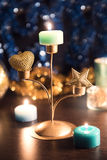 Christmas decoration and candles. Still life with candles and Christmas decorations on the table Stock Photo