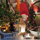 Christmas decoration with candles on  table. Christmas decoration with candles on the table Stock Photos