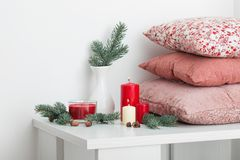 Christmas decoration with candles on white background royalty free stock photo