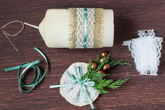 Free Christmas Decoration Candles With Your Own Hands. Step 6 Stock Photography - 80357952