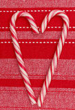 Christmas decoration candy canes heart shape  Royalty Free Stock Photos