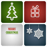 Christmas decoration card made from white paper Stock Photos