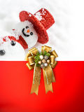 Christmas decoration  in card with ribbon bow Stock Photos