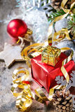 Christmas decoration card with toys and tree Stock Image