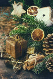 Christmas decoration card with toys and tree Stock Photo