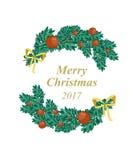 Christmas decoration card vector. Pine branch decoration, celebration Stock Images