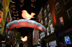 Christmas decoration in Carnaby street by night. Stock Image