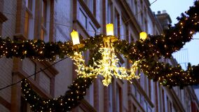 Christmas decoration at Cecil Court London - LONDON, ENGLAND - DECEMBER 10, 2019
