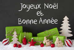 Christmas Decoration, Cement, Snow, Bonne Annee Means Happy New Year Royalty Free Stock Photos