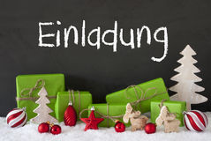 Christmas Decoration, Cement, Snow, Einladung Means Invitation Royalty Free Stock Photos