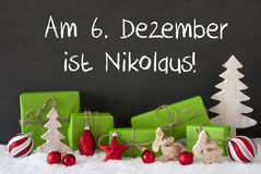 Christmas Decoration, Cement, Snow, Nikolaus Means St Nicholas Day Royalty Free Stock Photo