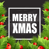 Christmas decoration on chalk board. Vector Stock Image