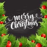 Christmas decoration on chalk board. Vector Stock Photo