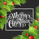 Christmas decoration on chalk board. Vector Stock Photo