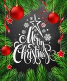Christmas decoration on chalk board. Vector Stock Photos