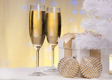 Christmas decoration and champagne. Royalty Free Stock Images