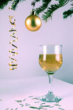 Christmas decoration champagne. Xmas beverage. Royalty Free Stock Images