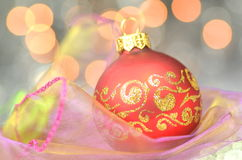 Christmas decoration, christmas ball against bokeh background Stock Photography