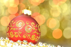 Christmas decoration, christmas ball against bokeh background Royalty Free Stock Image