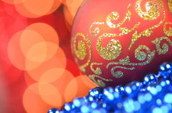 Christmas decoration, christmas ball against bokeh background Royalty Free Stock Photos